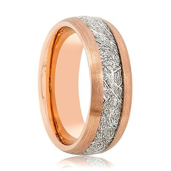 Aydins Rose Gold & Meteorite Inlay Tungsten Ring Men 8mm Beveled Edge Tungsten Carbide Wedding Band