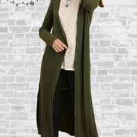 Ribbed Long Cardigan - Olive