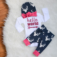 3 Pieces Baby Costume Boys Girls Clothes Newborn Winter 2017 New Pajamas Bodysuit Cartoon Pattern Word Unisex Long Sleeve Warm