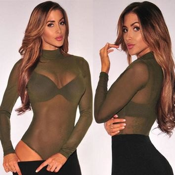 LMFOK2 Mesh Strech Long Sleeve Bodysuit