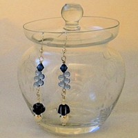 Glass Blue, White and Silver Bead Dangle Earrings