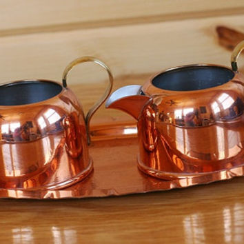 Coppercraft Guild Copper Creamer and Sugar With Tray