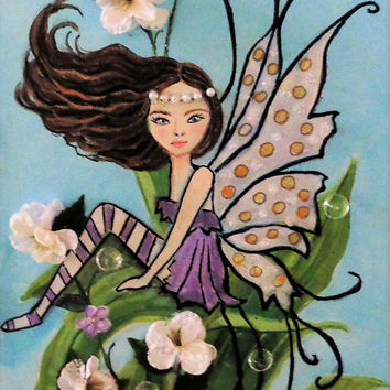 Fairy Painting Woodland Decor Mixed Media Fine Art Print Fairy Nursery Fairy Wall Decor Faerie Artwork
