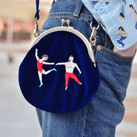 YiZi Velvet Mini Crosbody Bag/Blue Dancers