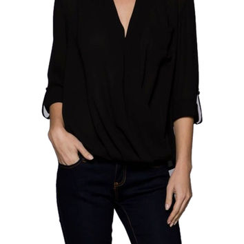 3/4 Sleeve Surplice Draped Front Chiffon Blouse