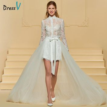 Dressv Ivory Wedding Dress Asymmetry High Neck Long Sleeves Sweep Train A Line Button Lace Sashes Ribbons Custom Wedding Dress