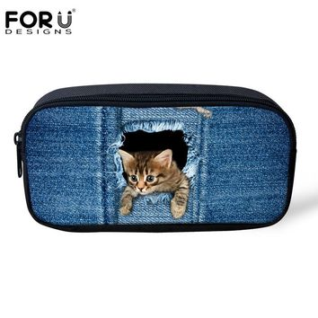 FORUDESIGNS Pencil Case for Girls Boys Denim 3D Dog Cat Animal Kids Pen Box Women Cosmetic Bag Child School Supplies Stationery