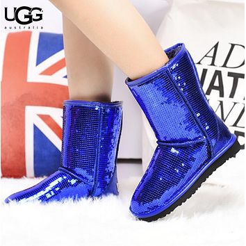 UGG Autumn And Winter New Fashion Sequin Women  Keep Warm Boost Shoes Blue