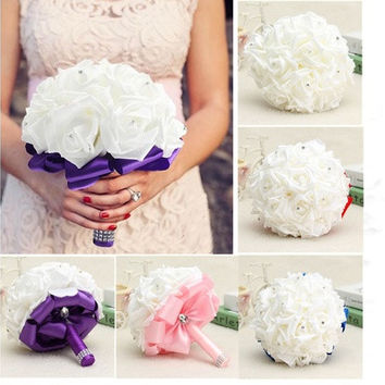 Bridal Bouquet Rose Foam Crystal Diamante Wedding Handmade Bridesmaid Flower [7981647495]