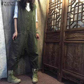 Fashion ZANZEA Women Rompers Sleeveless Solid Casual Loose Harem Cargo Pants Summer Drop Crotch Cotton Linen Overalls Jumpsuits