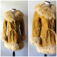70s Suede Faux Fur Belted Jacket Vintage Button Down Leather Hippie Womens Winter Mid Thigh Coat Size M Medium 1970s Bohemain Fall Fashion