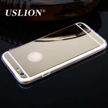 For iPhone 5 5s SE 6 6s 7 7 Plus Case Luxury Mirror Electroplating Soft Transparent TPU Phone Cases Back Cover for iphone 7Plus