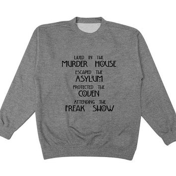 american freak show sweater Gray Sweatshirt Crewneck Men or Women for Unisex Size with variant colour