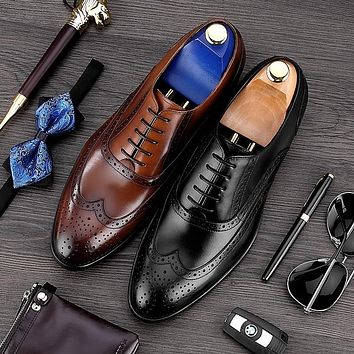 Vintage Man Carved Brogue Shoes High Quality Genuine Leather Formal Dress Oxfords Round Toe Men's Luxury Wing Tip Flats MG44