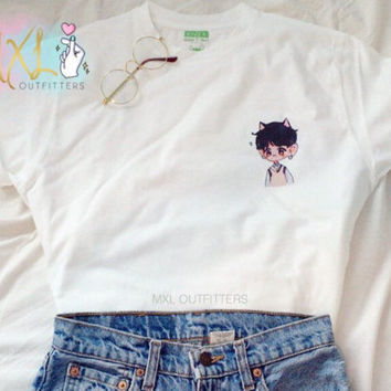 Pocket BTS chibi Suga Kitty T-Shirt  (Design by Yoomint)