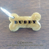 Mini Bone Dog Tag Gold Shimmer - Small Size  - Personalized Custom Handmade Dog Pet ID - Resin - Male Female Dog Collar Accessory Cute