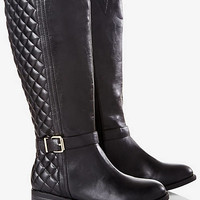 Black Quilted Riding Boot- Wide Calf from EXPRESS