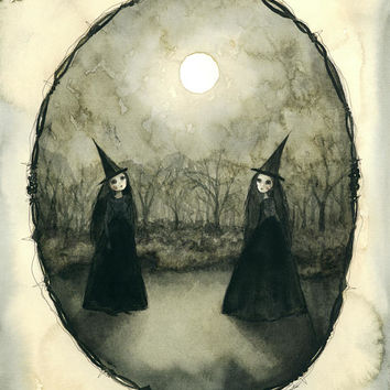 "Meeting of the Sister Witches (8""x10""print of an original painting by Sophia Rapata)"