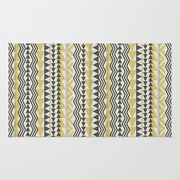 Tribal Triangles-Yellow & Gray Area & Throw Rug by Bohemian Gypsy Jane | Society6
