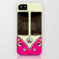 Cute Pink VW volkswagen mini van mini bus kombi camper apple iPhone 4 4s, 5 5s 5c, iPod & samsung galaxy s4 case by Three Second