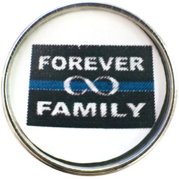 Thin Blue Line Forever Family Infinity Support your Officer 18MM - 20MM Snap Charm New Item