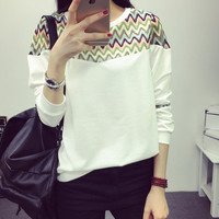 Women's Loose Lace Sweater Comfortable Casual Sports Long Sleeve Elbow Patch T-Shirt Gift 187