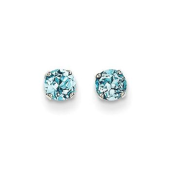 14k White Gold 4mm Round Genuine Blue Topaz Stud Earrings