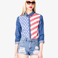 American Flag Denim Shirt | FOREVER 21 - 2027921768