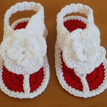 Baby Crochet Sandals Summer Shoes Kids Flip Flops with Big Flower Niatta