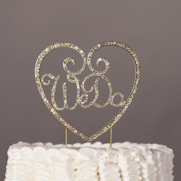 We Do with Heart Wedding Cake Topper - Gold