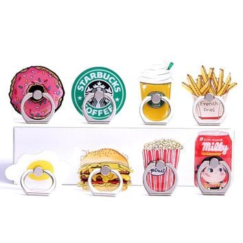 New Design 1 Piece Universal Metal Finger Ring Mobile Phone Holder Stand Funny Chips Coffee Hamburgers Pattern Smartphone Ring