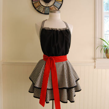 Black, Red, and White Gingham 2 Tier Circle Skirt Full Apron with Gathered Bodice