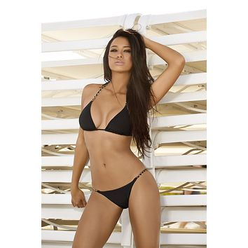 Notorious Swimwear Venturesome Black Triangle Top & Cheeky Bottom w/ Rose Gold Chain Straps Bikini Set