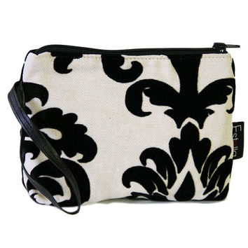 A black and white floral velvet print on canvas vegan wristlet make-up case - ready to ship. Valentine's Day present