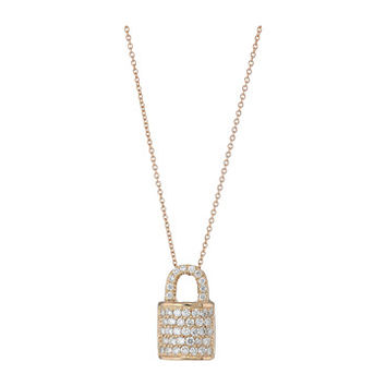 Roberto Coin Tiny Treasures Lock Pendant Necklace with Diamonds