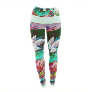 "alyZen Moonshadow ""Mad Hatters T-Party IV"" Green Pink Yoga Leggings"