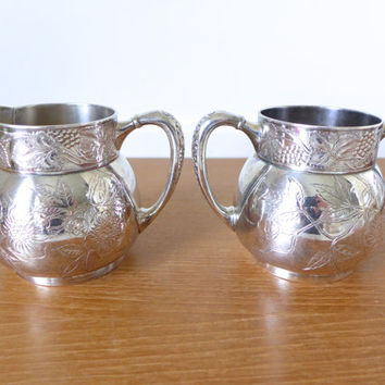 Antique Pairpoint quadruple plate silver plate sugar bowl and creamer, number 324