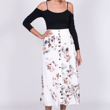 Moon River Floral Midi Skirt