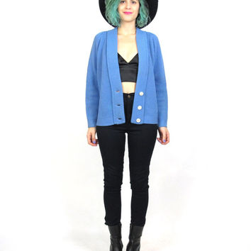 50s 60s Baby Blue Cardigan 1960s Knitted Sweater Womens Winter Knit Classic Button Up Cardigan Solid Jumper (S)