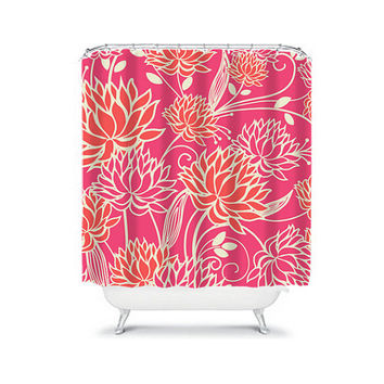 Shower Curtain Coral Hot Pink Beige Dahlia Flower Floral Bathroom Bath Polyester Made in the USA