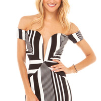 Off Shoulder Striped Bodycon Dress