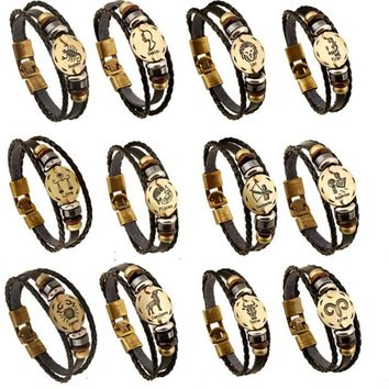 Fashion Bronze Alloy Buckles 12 Zodiac Signs Bracelet Constellations Leather Bracelet Wooden Bead Charms Jewelry