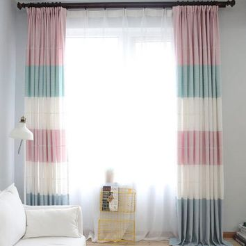 Color Blending Chenille with Linen Blackout Curtain Drape For Bedroom Window Blind Custom Made [Without Top Button]