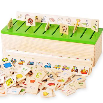 Montessori Educational Dominoes Kids Toy Wooden Creature Blocks Children Early Learning Classification Box Brinquedos WJ863