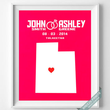 Personalized, Print, Utah, Wedding, Anniversary, Customized, Family, State, Groom, Bride, Wall Art, Home Decor, Marriage, Love [NO 43]