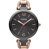 Fossil ES3111 Georgia Three Hand Stainless Steel   Smoke and Rose black