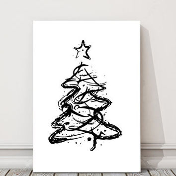 Christmas Tree Art, Home And Living, Wall Decor, Art Poster, Printable Art, Sketched, Modern Wall Art, Digital Download, Home Decor