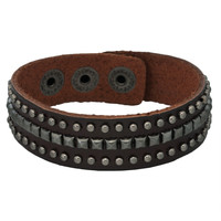 Round Studded Brown Leather Cuff Bracelet
