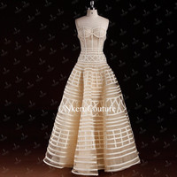 Nkeru Couture Strapless Sweetheart Illusion Bodice Backless Boning Lace Bohemian Party Prom Dress For Wedding RT654