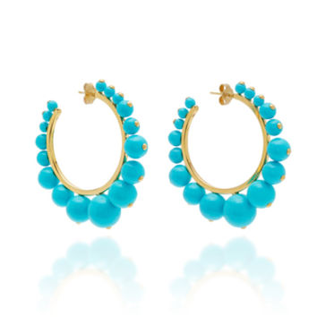 Ana Earrings With Turquoise Color Pearls | Moda Operandi